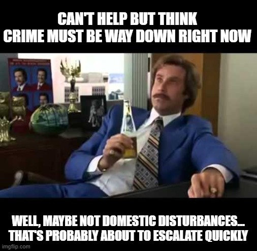 Well THAT's About to Escalate Quickly... | CAN'T HELP BUT THINK CRIME MUST BE WAY DOWN RIGHT NOW WELL, MAYBE NOT DOMESTIC DISTURBANCES... THAT'S PROBABLY ABOUT TO ESCALATE QUICKLY | image tagged in memes,well that escalated quickly,social distancing,coronavirus | made w/ Imgflip meme maker