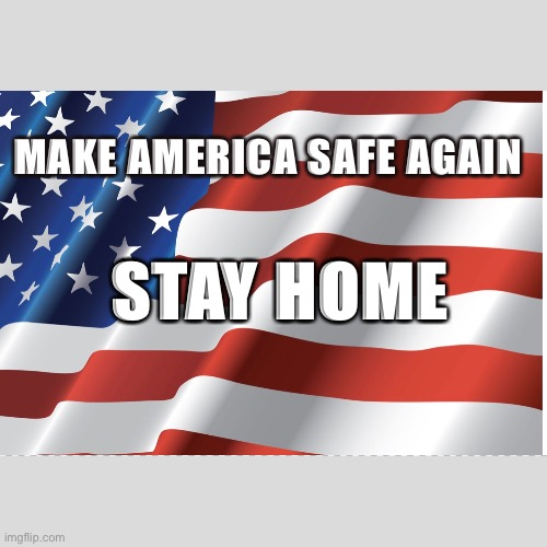 MAKE AMERICA SAFE AGAIN; STAY HOME | image tagged in free | made w/ Imgflip meme maker
