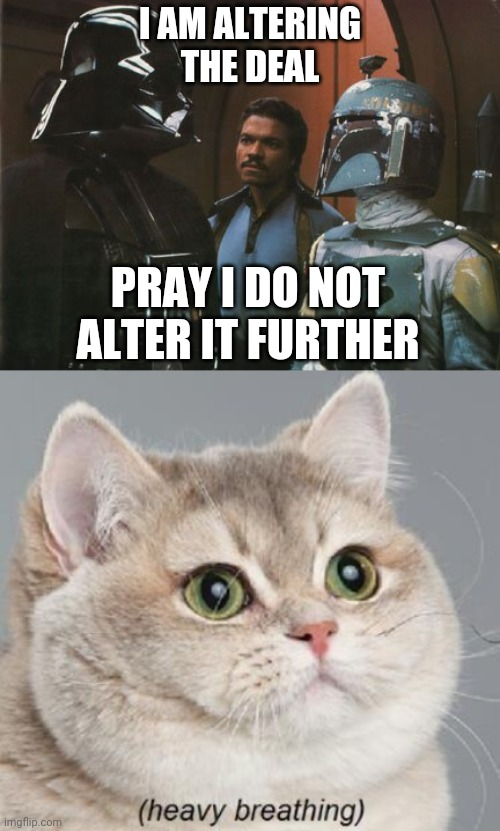 I AM ALTERING THE DEAL; PRAY I DO NOT ALTER IT FURTHER | image tagged in memes,heavy breathing cat,star wars darth vader altering the deal | made w/ Imgflip meme maker