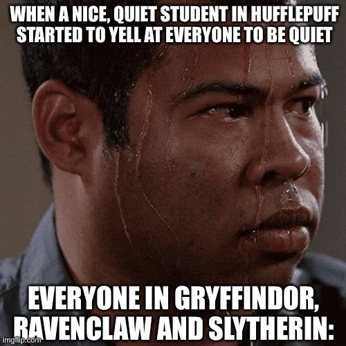 When a supposed quiet kid has absolutely had enough of your sh!t |  WHEN A NICE, QUIET STUDENT IN HUFFLEPUFF STARTED TO YELL AT EVERYONE TO BE QUIET; EVERYONE IN GRYFFINDOR, RAVENCLAW AND SLYTHERIN: | image tagged in sweaty tryhard,hogwarts,hufflepuff,harry potter,gryffindor,slytherin | made w/ Imgflip meme maker