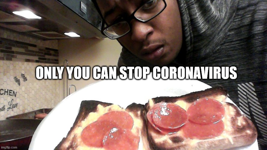 Stay at home and Cook |  ONLY YOU CAN STOP CORONAVIRUS | image tagged in coronavirus,meal,toast,pizza,cheese | made w/ Imgflip meme maker