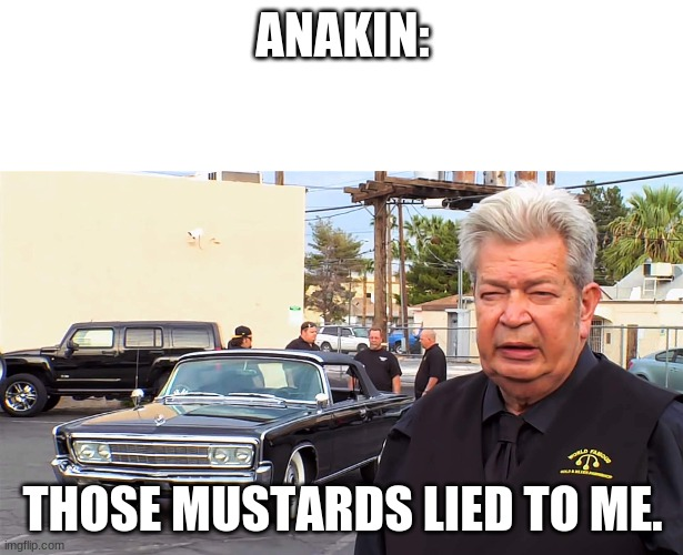 Those bastards lied to me | ANAKIN: THOSE MUSTARDS LIED TO ME. | image tagged in those bastards lied to me | made w/ Imgflip meme maker