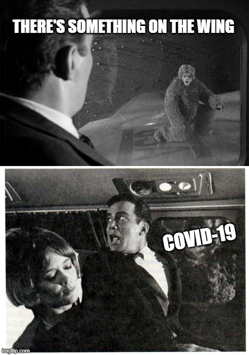 Twilight Zone |  THERE'S SOMETHING ON THE WING; COVID-19 | image tagged in covid-19,twilight zone,funny | made w/ Imgflip meme maker