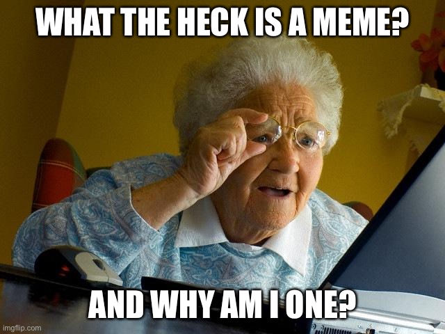 Grandma Finds The Internet |  WHAT THE HECK IS A MEME? AND WHY AM I ONE? | image tagged in memes,grandma finds the internet | made w/ Imgflip meme maker
