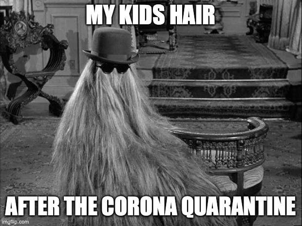 Cousin IT |  MY KIDS HAIR; AFTER THE CORONA QUARANTINE | image tagged in cousin it | made w/ Imgflip meme maker