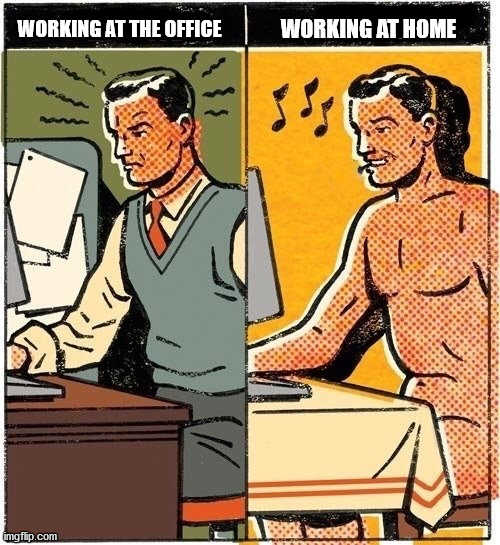 WORKING AT HOME; WORKING AT THE OFFICE | image tagged in covid-19,home | made w/ Imgflip meme maker