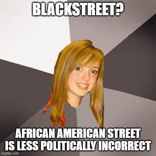 Musically Oblivious 8th Grader |  BLACKSTREET? AFRICAN AMERICAN STREET IS LESS POLITICALLY INCORRECT | image tagged in memes,musically oblivious 8th grader,political correctness,black | made w/ Imgflip meme maker