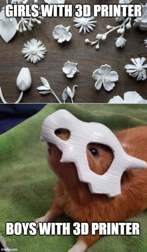 I WOULD MAKE THAT |  GIRLS WITH 3D PRINTER; BOYS WITH 3D PRINTER | image tagged in memes,3d printing,pokemon,cubone,funny pokemon | made w/ Imgflip meme maker