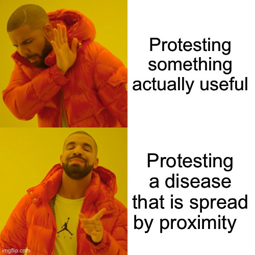 Drake Hotline Bling Meme | Protesting something actually useful Protesting a disease that is spread by proximity | image tagged in memes,drake hotline bling | made w/ Imgflip meme maker