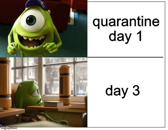 I used to rule the world |  quarantine day 1; day 3 | image tagged in memes,coronavirus,quarantine,covid-19,2020,mike wazowski | made w/ Imgflip meme maker