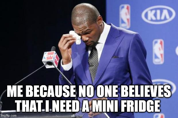 You The Real MVP 2 |  ME BECAUSE NO ONE BELIEVES THAT I NEED A MINI FRIDGE | image tagged in memes,you the real mvp 2 | made w/ Imgflip meme maker
