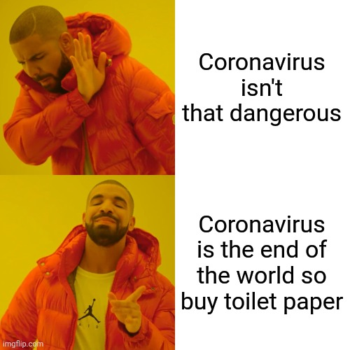 Basically everyone right now |  Coronavirus isn't that dangerous; Coronavirus is the end of the world so buy toilet paper | image tagged in memes,drake hotline bling,coronavirus,end of the world,toilet paper | made w/ Imgflip meme maker