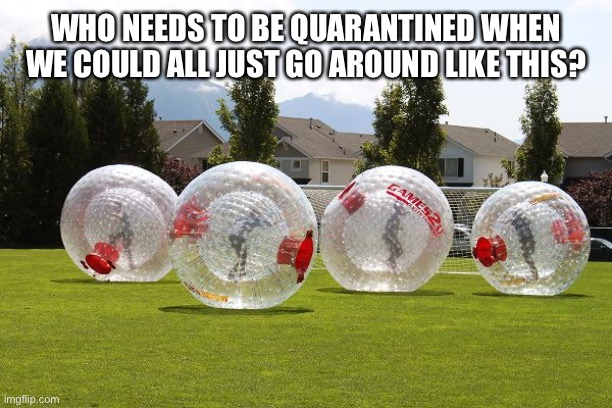 WHO NEEDS TO BE QUARANTINED WHEN WE COULD ALL JUST GO AROUND LIKE THIS? | image tagged in coronavirus,funny,memes,hamster | made w/ Imgflip meme maker
