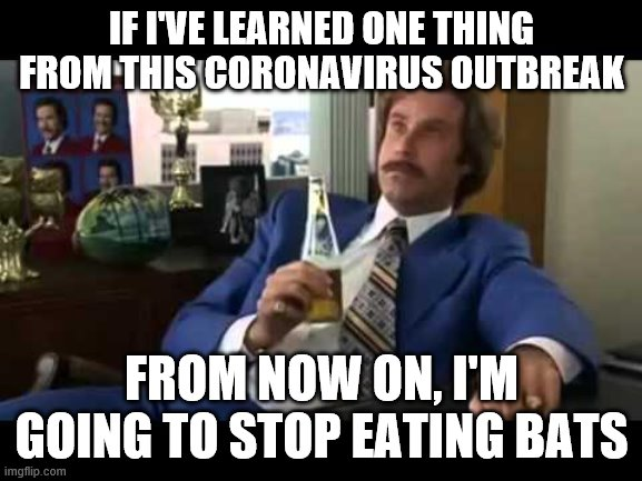 Well That Escalated Quickly | IF I'VE LEARNED ONE THING FROM THIS CORONAVIRUS OUTBREAK FROM NOW ON, I'M GOING TO STOP EATING BATS | image tagged in memes,well that escalated quickly | made w/ Imgflip meme maker