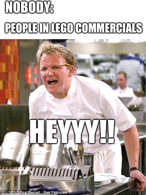 Hello memers |  NOBODY:; PEOPLE IN LEGO COMMERCIALS; HEYYY!! | image tagged in memes,chef gordon ramsay,lego,angry chef gordon ramsay,yelling,angry cat | made w/ Imgflip meme maker