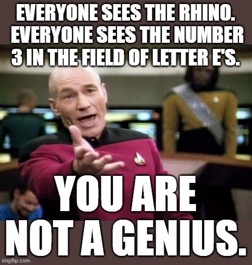 Picard Wtf |  EVERYONE SEES THE RHINO.  EVERYONE SEES THE NUMBER 3 IN THE FIELD OF LETTER E'S. YOU ARE NOT A GENIUS. | image tagged in memes,picard wtf | made w/ Imgflip meme maker
