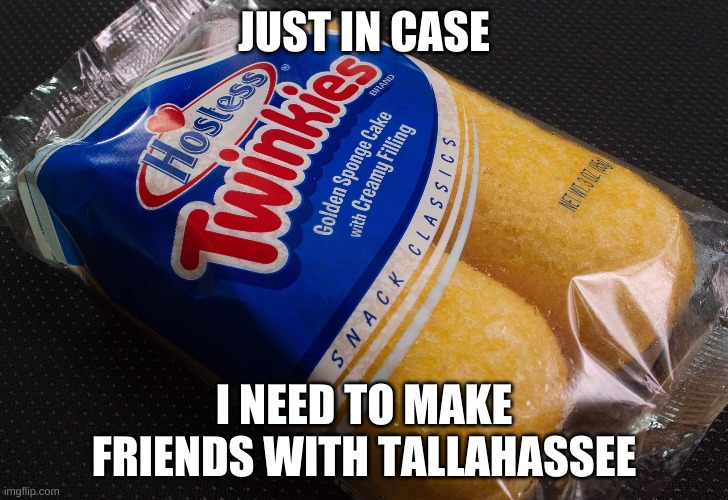 Twinkies  |  JUST IN CASE; I NEED TO MAKE FRIENDS WITH TALLAHASSEE | image tagged in twinkies | made w/ Imgflip meme maker