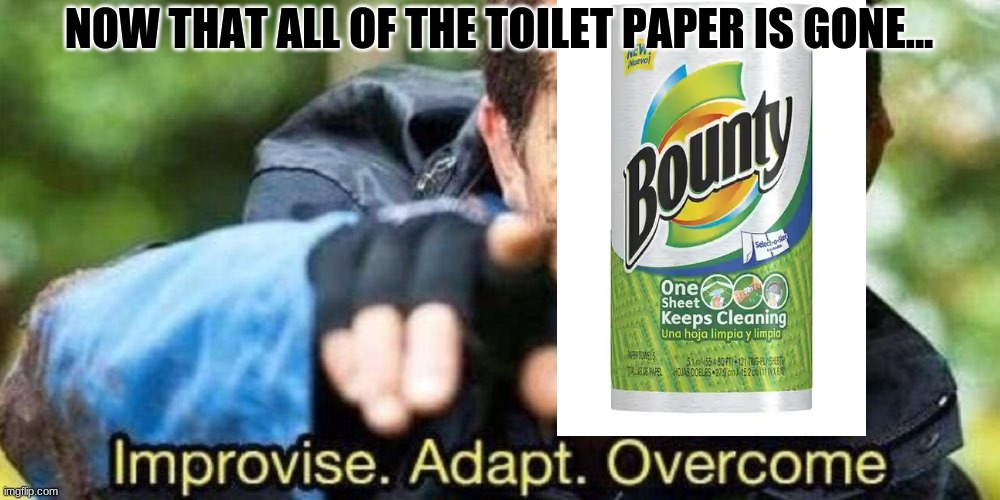 Improvise. Adapt. Overcome |  NOW THAT ALL OF THE TOILET PAPER IS GONE... | image tagged in improvise adapt overcome | made w/ Imgflip meme maker