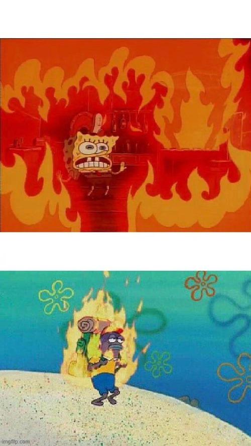Spongebob Burning