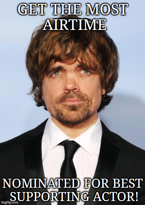 GET THE MOST AIRTIME NOMINATED FOR BEST SUPPORTING ACTOR! | image tagged in peter dinklage | made w/ Imgflip meme maker