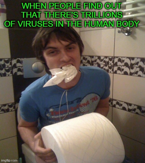 Toilet paper is the cure! | WHEN PEOPLE FIND OUT THAT THERE'S TRILLIONS OF VIRUSES IN THE HUMAN BODY | image tagged in toilet paper | made w/ Imgflip meme maker