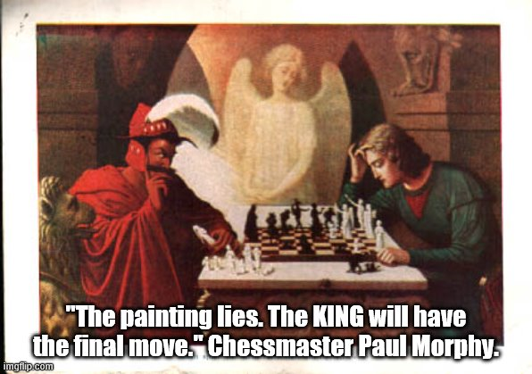 "Captioned painting known as ""Checkmate."" 