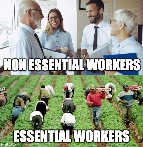 NON ESSENTIAL WORKERS; ESSENTIAL WORKERS | image tagged in covid-19,coronavirus,essentialworker,government shutdown,martial law | made w/ Imgflip meme maker