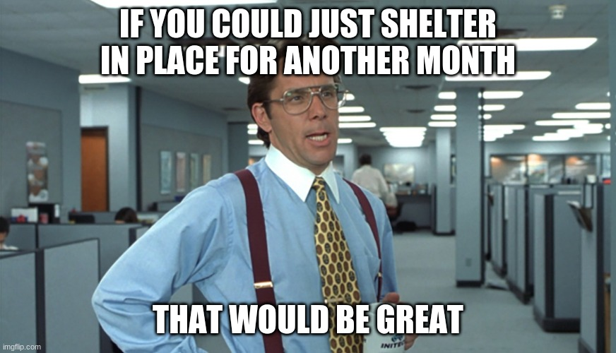 Office Space Bill Lumbergh |  IF YOU COULD JUST SHELTER IN PLACE FOR ANOTHER MONTH; THAT WOULD BE GREAT | image tagged in office space bill lumbergh | made w/ Imgflip meme maker