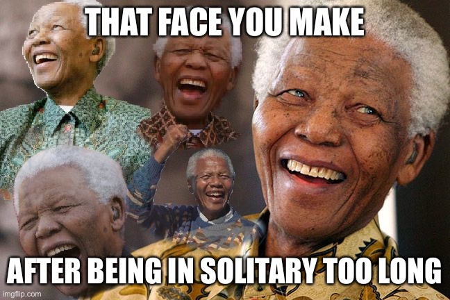 Mandela Laughing in Quarantine | THAT FACE YOU MAKE AFTER BEING IN SOLITARY TOO LONG | image tagged in mandela laughing in quarantine | made w/ Imgflip meme maker