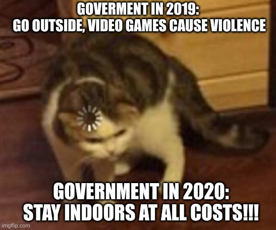 Loading cat | GOVERMENT IN 2019:  GO OUTSIDE, VIDEO GAMES CAUSE VIOLENCE GOVERNMENT IN 2020: STAY INDOORS AT ALL COSTS!!! | image tagged in loading cat | made w/ Imgflip meme maker