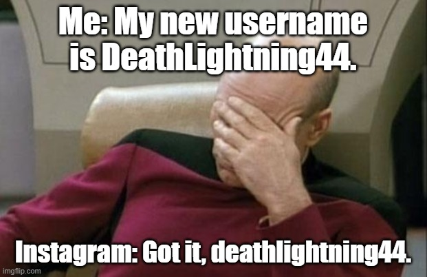 Were two uppercase letters that hard? |  Me: My new username is DeathLightning44. Instagram: Got it, deathlightning44. | image tagged in captain picard facepalm,instagram,alphabet | made w/ Imgflip meme maker