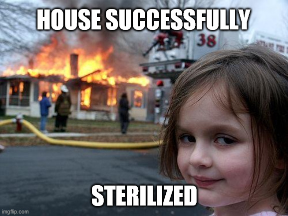 Disaster Girl |  HOUSE SUCCESSFULLY; STERILIZED | image tagged in memes,disaster girl | made w/ Imgflip meme maker