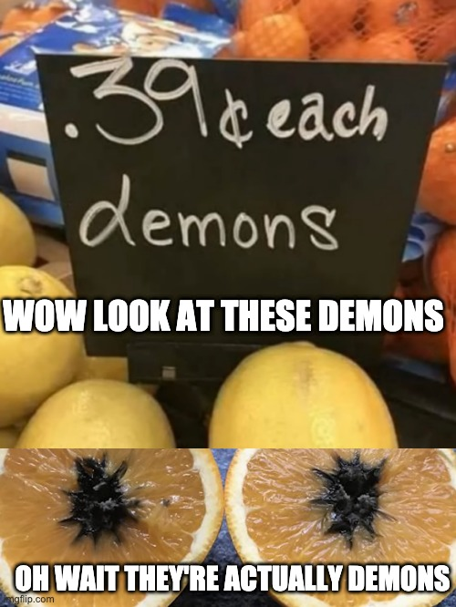 Lemons or demons? |  WOW LOOK AT THESE DEMONS; OH WAIT THEY'RE ACTUALLY DEMONS | image tagged in dumb,funny,memes | made w/ Imgflip meme maker