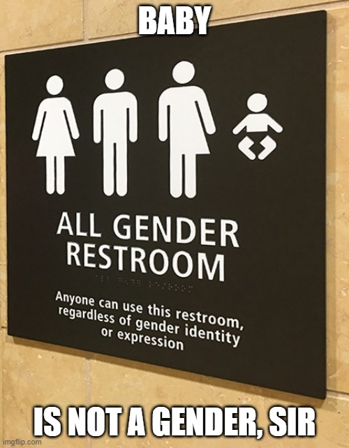 Baby is not a gender, sir |  BABY; IS NOT A GENDER, SIR | image tagged in baby,gender,restroom,bathroom,sign | made w/ Imgflip meme maker