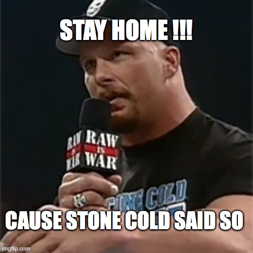 Stone Cold Said So !!! |  STAY HOME !!! CAUSE STONE COLD SAID SO | image tagged in stone cold,memes,coronavirus,covid19,wwe | made w/ Imgflip meme maker