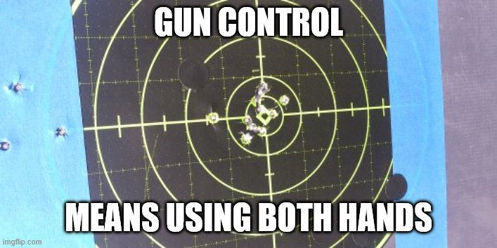 both Hands |  GUN CONTROL; MEANS USING BOTH HANDS | image tagged in target,funny | made w/ Imgflip meme maker