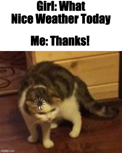 Wait a Second... | Girl: What Nice Weather Today Me: Thanks! | image tagged in loading cat | made w/ Imgflip meme maker