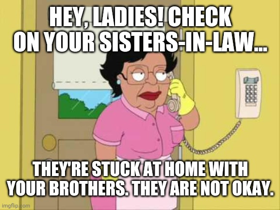 Consuela Meme |  HEY, LADIES! CHECK ON YOUR SISTERS-IN-LAW... THEY'RE STUCK AT HOME WITH YOUR BROTHERS. THEY ARE NOT OKAY. | image tagged in memes,consuela | made w/ Imgflip meme maker