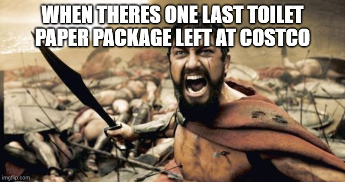 Sparta Leonidas Meme |  WHEN THERES ONE LAST TOILET PAPER PACKAGE LEFT AT COSTCO | image tagged in memes,sparta leonidas | made w/ Imgflip meme maker