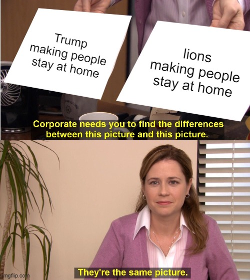 Trump making people stay at home lions making people stay at home | image tagged in memes,they're the same picture | made w/ Imgflip meme maker