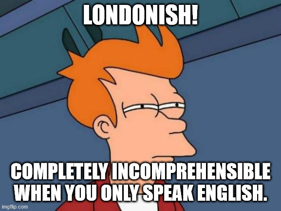 Futurama Fry Meme | LONDONISH! COMPLETELY INCOMPREHENSIBLE WHEN YOU ONLY SPEAK ENGLISH. | image tagged in memes,futurama fry | made w/ Imgflip meme maker