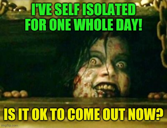 Self isolation girl |  I'VE SELF ISOLATED FOR ONE WHOLE DAY! IS IT OK TO COME OUT NOW? | image tagged in evil dead girl,self isolating,coronavirus,donald trump,republicans | made w/ Imgflip meme maker