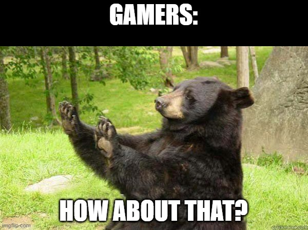 How about no bear | GAMERS: HOW ABOUT THAT? | image tagged in how about no bear | made w/ Imgflip meme maker