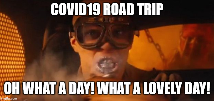mad max |  COVID19 ROAD TRIP; OH WHAT A DAY! WHAT A LOVELY DAY! | image tagged in mad max,coronavirus,covid-19,covid19,road trip | made w/ Imgflip meme maker