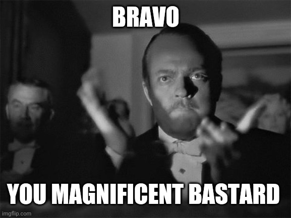clapping | BRAVO YOU MAGNIFICENT BASTARD | image tagged in clapping | made w/ Imgflip meme maker