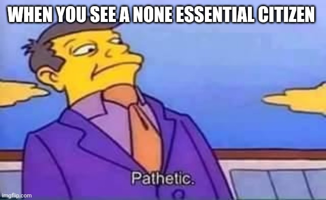 skinner pathetic |  WHEN YOU SEE A NONE ESSENTIAL CITIZEN | image tagged in skinner pathetic | made w/ Imgflip meme maker
