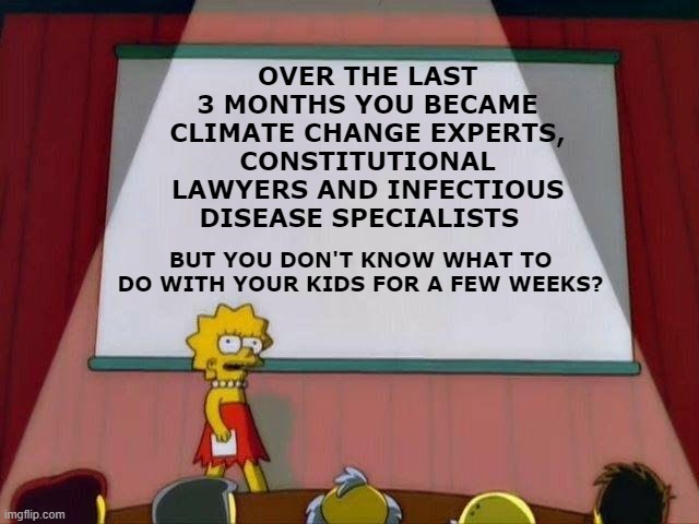 Lisa Simpson's Presentation | OVER THE LAST 3 MONTHS YOU BECAME CLIMATE CHANGE EXPERTS, CONSTITUTIONAL LAWYERS AND INFECTIOUS DISEASE SPECIALISTS BUT YOU DON'T KNOW WHAT  | image tagged in lisa simpson's presentation,ConservativeMemes | made w/ Imgflip meme maker