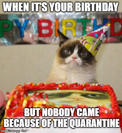 Happy B-Day in 2020 |  WHEN IT'S YOUR BIRTHDAY; BUT NOBODY CAME BECAUSE OF THE QUARANTINE | image tagged in memes,grumpy cat birthday,grumpy cat,coronavirus,happy birthday,quarantine | made w/ Imgflip meme maker