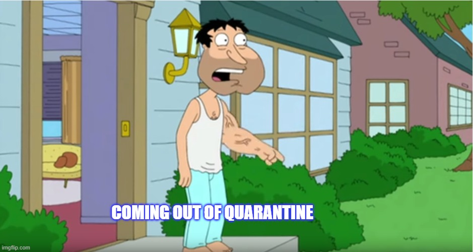 Coming out of quarantine |  COMING OUT OF QUARANTINE | image tagged in quarantine | made w/ Imgflip meme maker