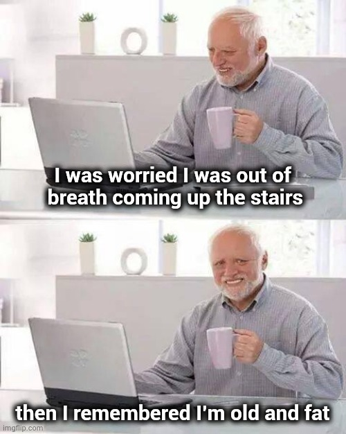 He doesn't have it | I was worried I was out of  breath coming up the stairs then I remembered I'm old and fat | image tagged in memes,hide the pain harold,corona virus,well yes but actually no,out of shape | made w/ Imgflip meme maker